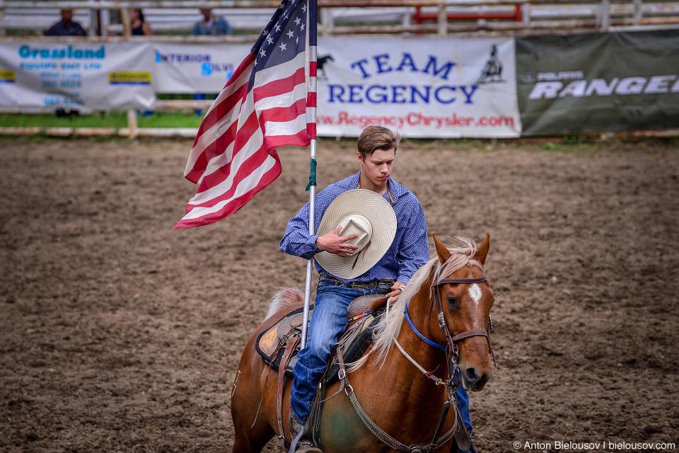 USA Flag at Rodeo opening in Keremeos, BC