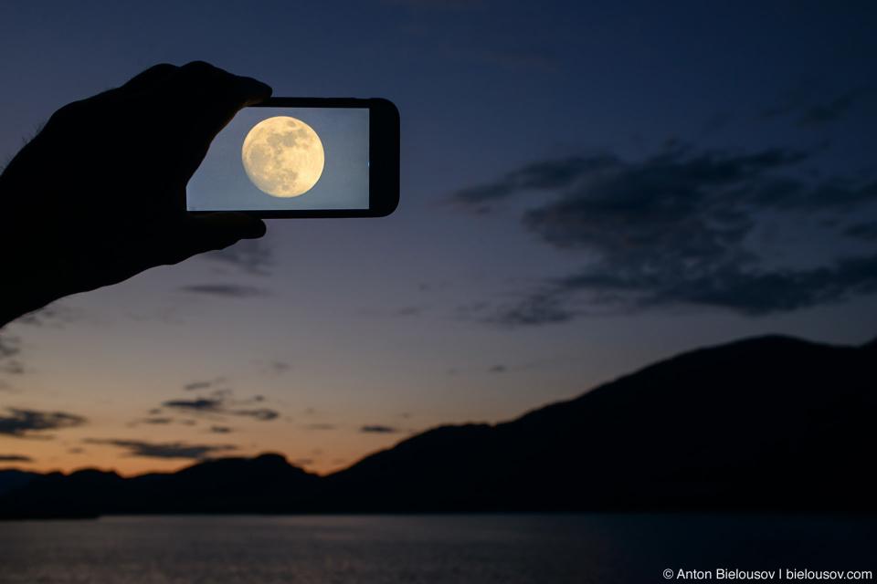 Augmented reality moon over Osoyoos Lake