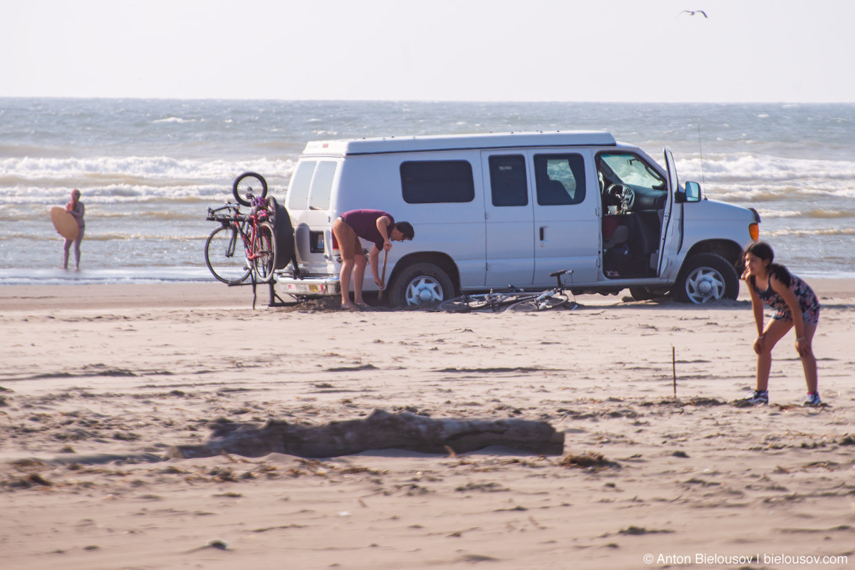 Beached van — Long Beach, WA