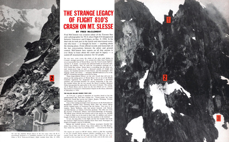 THE STRANGE LEGACY OF FLIGHT 810'S CRASH ON MT. SLESSE FRED MCCLEMENTJULY 14 1962